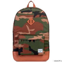 РЮКЗАК Herschel Heritage WOODLAND CAMO/TAN SYNTHETIC LEATHER